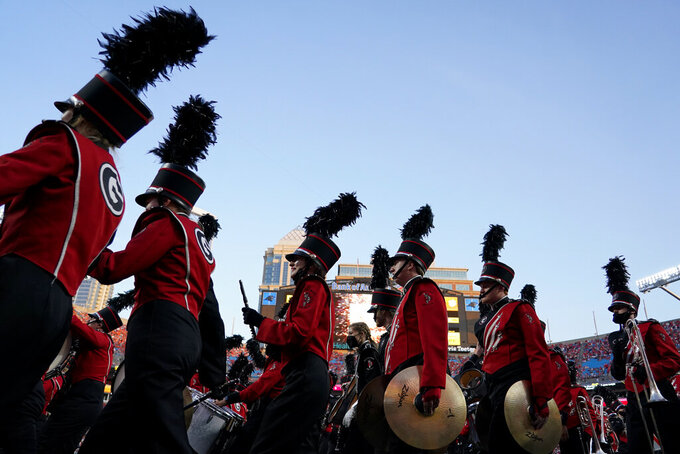 The Georgia band performs before the team's NCAA college football game against Clemson on Saturday, Sept. 4, 2021, in Charlotte, N.C. (AP Photo/Chris Carlson)
