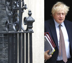 Britain's Prime Minister Boris Johnson leaves 10 Downing Street in London, bound for PMQs in the House of Commons, Wednesday June 3, 2020.  Johnson announced earlier that his Britain is ready to open the door to almost 3 million Hong Kong citizens if China enacts a national security law for the city. (Jonathan Brady/PA via AP)