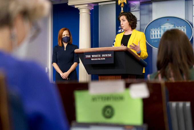 National Security Council Coordinator for U.S. Southern Border Roberta Jacobson, accompanied by White House press secretary Jen Psaki, left, speaks at a press briefing at the White House, Wednesday, March 10, 2021, in Washington. (AP Photo/Andrew Harnik)