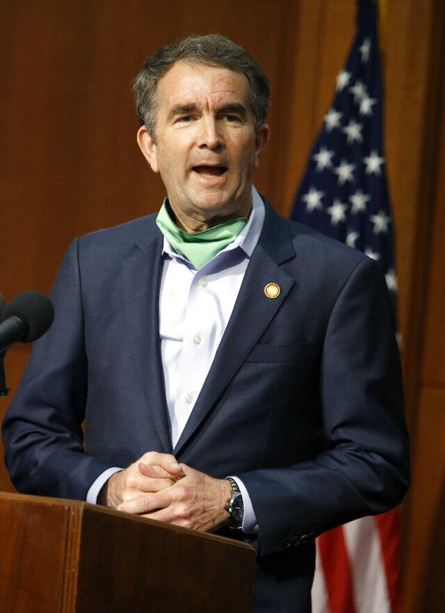 Virginia Governor Ralph Northam speaks during the COVID-19 press briefing inside the Patrick Henry Building in Richmond, Va., Tuesday, May 26, 2020. (Bob Brown/Richmond Times-Dispatch via AP)