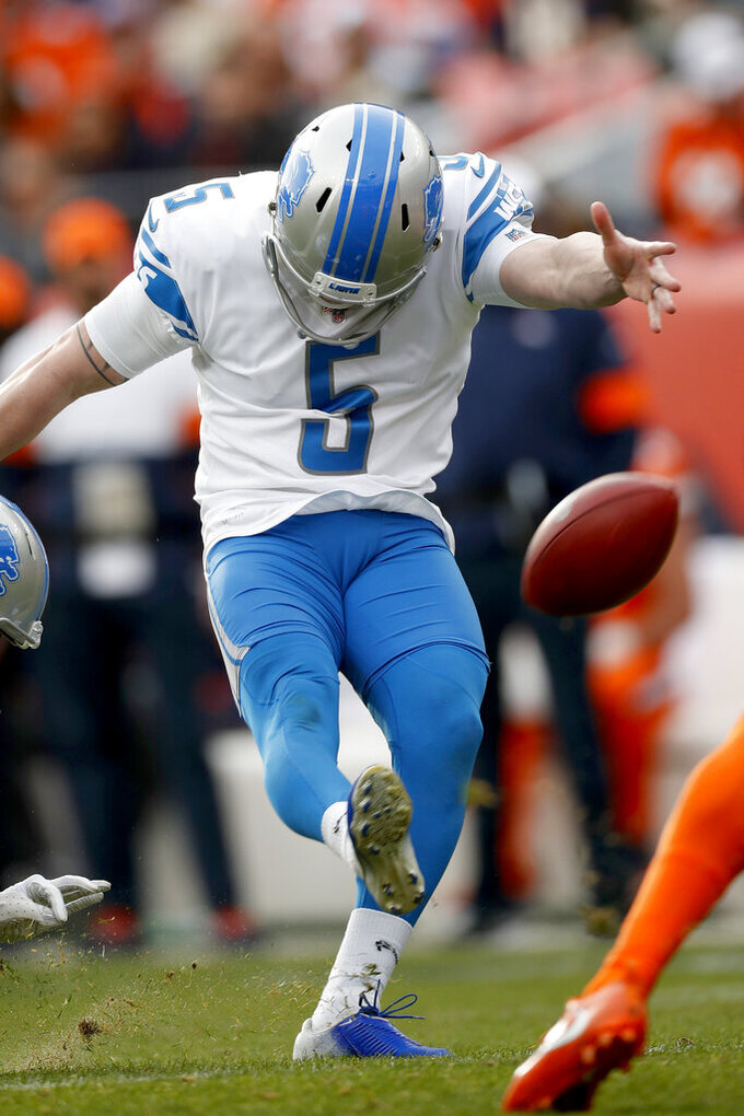 Detroit Lions kicker Matt Prater kicks a field goal against the Denver Broncos during the first half of an NFL football game, Sunday, Dec. 22, 2019, in Denver. (AP Photo/David Zalubowski)