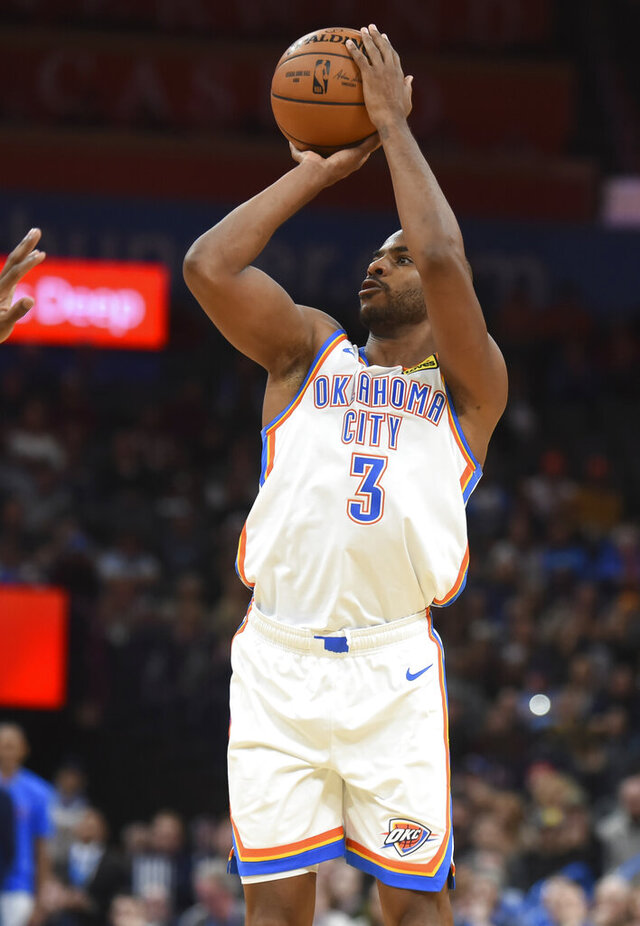 Oklahoma City Thunder guard Chris Paul shoots the ball in the second half of an NBA basketball game against Chicago Bulls, Monday, Dec. 16, 2019, in Oklahoma City. (AP Photo/Kyle Phillips)
