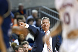 Auburn head coach Bruce Pearl calls a play during the first half of an NCAA college basketball game against Georgia Southern Tuesday, Nov. 5, 2019, in Auburn, Ala. (AP Photo/Julie Bennett)