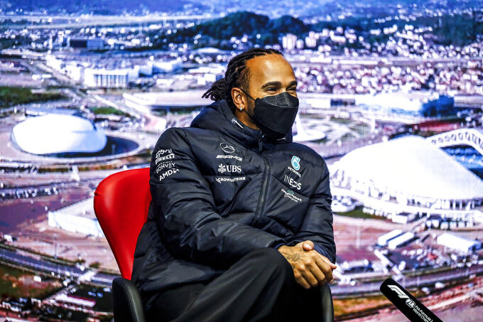 Britain's Lewis Hamilton of Mercedes attends the press conference at the Sochi Autodrom circuit, in Sochi, Russia, Thursday, Sept. 23, 2021. The Russian Formula One Grand Prix will be held on Sunday. (Joao Filipe/DPPI, Pool via AP)