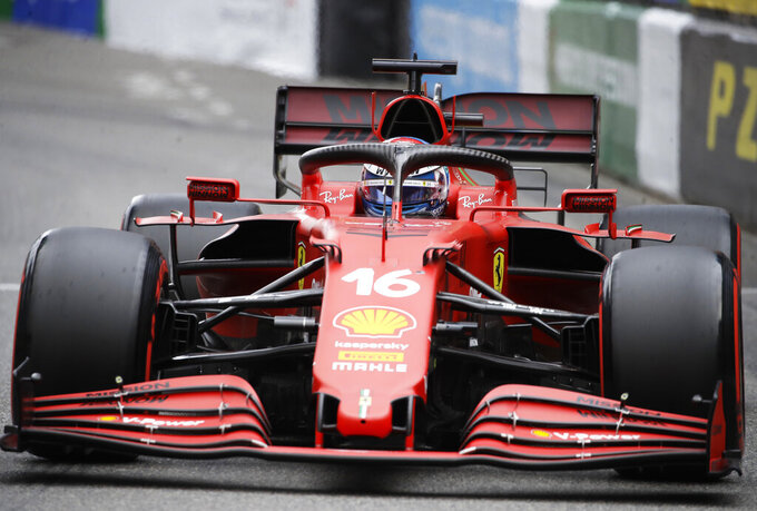 Ferrari driver Charles Leclerc of Monaco steers his car during the qualifying session at the Monaco racetrack, in Monaco, Saturday, May 22, 2021. The Formula One race will take place on Sunday. (AP Photo/Luca Bruno)