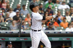 Detroit Tigers catcher Dustin Garneau breaks his bat as he hits a double against the Tampa Bay Rays in the third inning of a baseball game, Sunday, Sept. 12, 2021, in Detroit. (AP Photo/Jose Juarez)