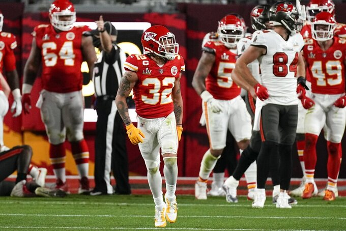Kansas City Chiefs strong safety Tyrann Mathieu celebrates a goal line stand against the Tampa Bay Buccaneers during the first half of the NFL Super Bowl 55 football game Sunday, Feb. 7, 2021, in Tampa, Fla. (AP Photo/David J. Phillip)