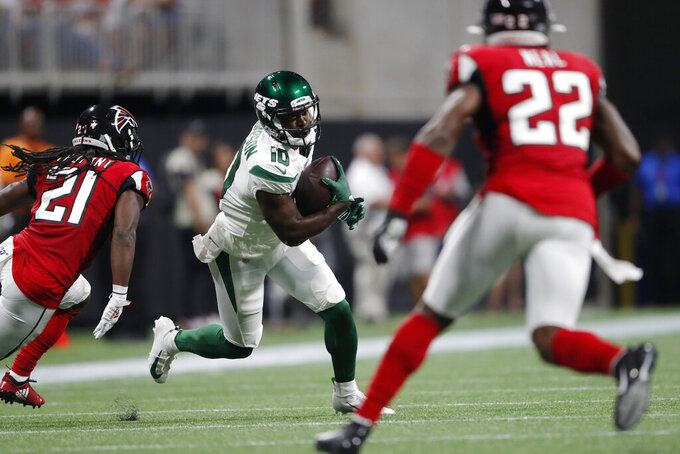 New York Jets Deonte Thompson (10) runs aganst the Atlanta Falcons during the first half an NFL preseason football game, Thursday, Aug. 15, 2019, in Atlanta. (AP Photo/John Bazemore)