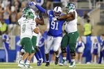 Kentucky defensive end Calvin Taylor Jr. (91) rushes Eastern Michigan quarterback Mike Glass III (9) during the second half of an NCAA college football game between Kentucky and Eastern Michigan, Saturday, Sept. 7, 2019, in Lexington, Ky. (AP Photo/Bryan Woolston)