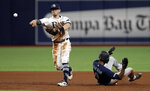 Tampa Bay Rays second baseman Eric Sogard forces Seattle Mariners' Dee Gordon (9) at second base on a fielder's choice by Keon Broxton during the fifth inning of a baseball game Tuesday, Aug. 20, 2019, in St. Petersburg, Fla. (AP Photo/Chris O'Meara)