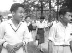 In this August 1958, photo, then Crown Prince Akihito, left, walks with Michiko Shoda, second from left, who married Akihito later, and Akihito's friend Kazuo Oda, right, at a tennis court in Karuizawa, northwest of Tokyo. At his advanced age, Akihito no longer plays tennis as often as he used to. He last played with Oda two years ago. Emperor Akihito has devoted his 30-year reign to making amends for a war fought in his father's name, while adapting the 1,500-year-old monarchy to draw the Imperial Family closer to the public. (Kyodo News via AP)