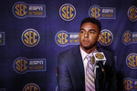 Tennessee quarterback Jarrett Guarantano speaks to reporters during the NCAA college football Southeastern Conference Media Days, Tuesday, July 16, 2019, in Hoover, Ala. (AP Photo/Butch Dill)