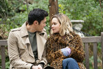 This image released by Universal Pictures shows Emilia Clarke, right, and Henry Golding in a scene from