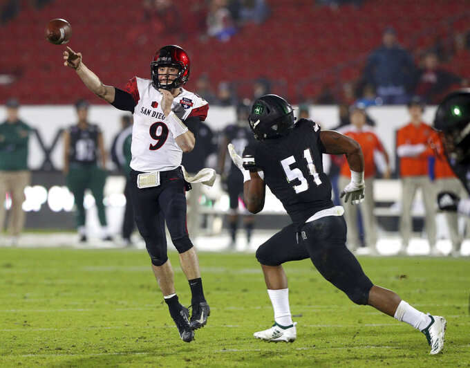 San Diego State quarterback Ryan Agnew (9) passes the ball under pressure from Ohio defensive lineman Will Evans (51) in the second half of the Frisco Bowl NCAA college football game, Wednesday, Dec. 19, 2018, in Frisco, Texas. (AP Photo/Richard W. Rodriguez)