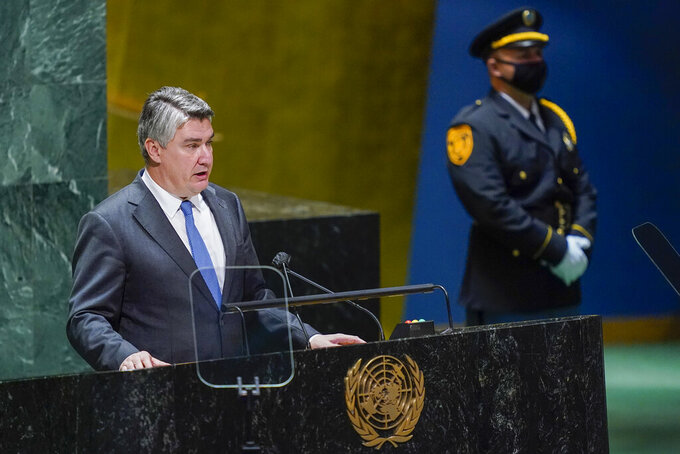 Croatian President Zoran Milanovic addresses the 76th Session of the United Nations General Assembly, Tuesday, Sept. 21, 2021 at U.N. headquarters. (AP Photo/Mary Altaffer, Pool)