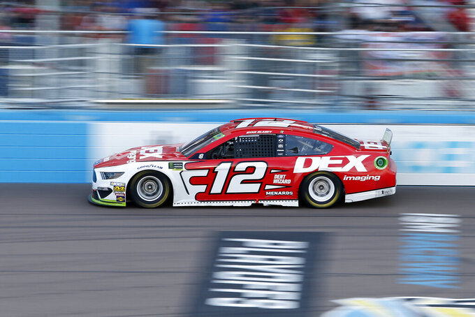 Ryan Blaney drives during the NASCAR Cup Series auto race at ISM Raceway, Sunday, Nov. 10, 2019, in Avondale, Ariz. (AP Photo/Ralph Freso)