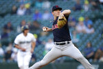 Cleveland Indians starting pitcher Zach Plesac throws against to a Seattle Mariners batter during the first inning of a baseball game Thursday, May 13, 2021, in Seattle. (AP Photo/Elaine Thompson)
