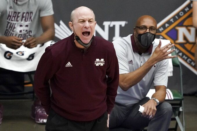 Mississippi State head coach Ben Howland instructs his team during the second half of an NCAA college basketball game against Saint Louis in the first round of the NIT Tournament, Saturday, March 20, 2021, in Frisco, Texas. (AP Photo/Tony Gutierrez)
