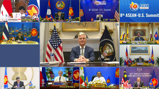 This image made from a teleconference provided by the Vietnam News Agency (VNA) shows U.S. national security adviser Robert O'Brien, center, with leaders of the Association of Southeast Asian Nations (ASEAN) during a virtual summit Saturday, Nov. 14, 2020. U.S. President Donald Trump skipped a virtual summit with his Southeast Asian counterparts on Saturday, the third year in a row that the U.S. is being represented at a lower level. (VNA via AP)