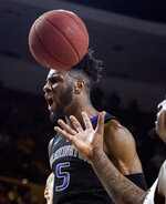 Washington's Jaylen Nowell (5) celebrates a dunk against Arizona State during the first half of an NCAA college basketball game Saturday, Feb. 9, 2019, in Tempe, Ariz. (AP Photo/Darryl Webb)