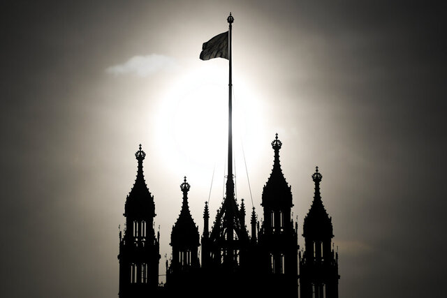 Britain's union flag flies from the Victoria Tower at parliament in London, Monday, Dec. 16, 2019. Newly elected lawmakers are convening at parliament Monday following the Dec. 12 general election. (AP Photo/Alberto Pezzali)