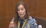 In this image from video, Minneapolis Police Officer Nicole Mackenzie testifies as Hennepin County Judge PeterCahill presides, Tuesday, April 13, 2021, in the trial of former Minneapolis police Officer Derek Chauvin  at the Hennepin County Courthouse in Minneapolis, Minn.  Chauvin is charged in the May 25, 2020 death of George Floyd.  (Court TV via AP, Pool)
