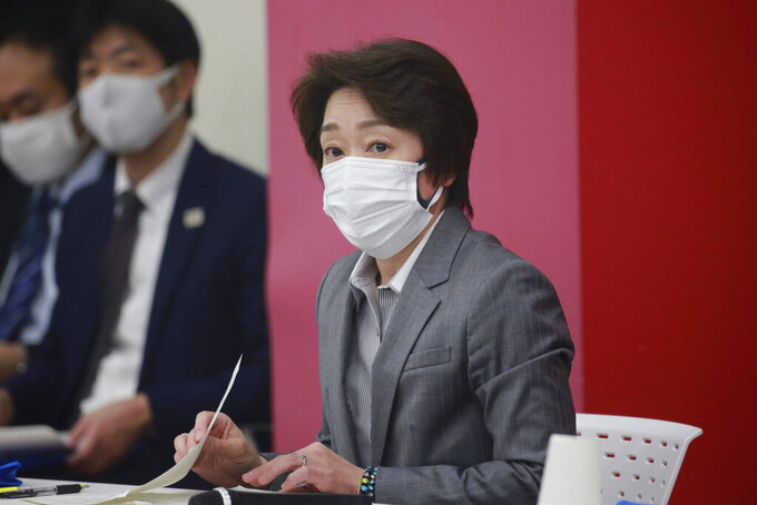 Tokyo 2020 Organizing Committee President Seiko Hashimoto attends a Tokyo 2020 executive board meeting in Tokyo, Tuesday, March 2, 2021. (AP Photo/Koji Sasahara, Pool)