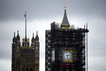 A view of the Victoria Tower, left, and the Elizabeth Tower, which holds the bell known as
