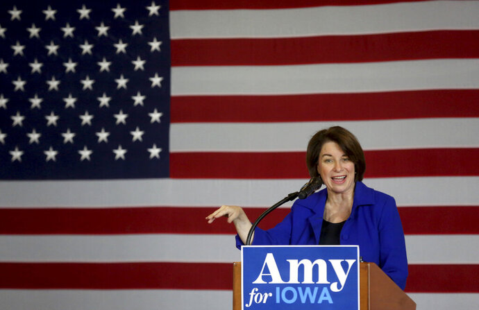 Democratic presidential candidate U.S. Sen. Amy Klobuchar, D-MN., speaks during an event at Grand River Center in Dubuque, Iowa, on Saturday, Dec. 7, 2019. (Jessica Reilly/Telegraph Herald via AP)