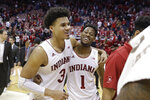 Indiana's Justin Smith (3) and Al Durham (1) celebrate after Indiana defeated Michigan State in an NCAA college basketball game, Thursday, Jan. 23, 2020, in Bloomington, Ind. (AP Photo/Darron Cummings)