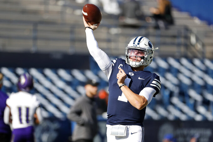 BYU quarterback Zach Wilson (1) warms up prior to playing against North Alabama in an NCAA college football game Saturday, Nov. 21, 2020, in Provo, Utah. (AP Photo/Jeff Swinger, Pool)