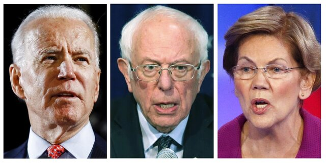 FILE — This panel of 2020 file photos show Democratic presidential candidate former Vice President Joe Biden, left, Sen. Bernie Sanders, I-Vt., center, and Sen. Elizabeth Warren, D-Mass. The three will address an online event for the Maine Democratic Party on May 31, 2020, after the 2020 state convention in Bangor was canceled because of the coronavirus pandemic. (AP Photos, File)