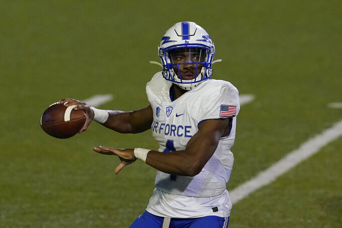 Air Force quarterback Haaziq Daniels passes against San Jose State during the second half of an NCAA college football game in San Jose, Calif., Saturday, Oct. 24, 2020. (AP Photo/Jeff Chiu)