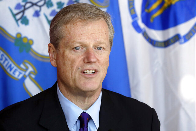 "FILE - In a Thursday, Oct. 24, 2019 file photo, Massachusetts Gov. Charlie Baker speaks to the media after a private meeting with Rhode Island Gov. Gina Raimondo and Connecticut Gov. Ned Lamont, in Providence, R.I. Massachusetts Gov. Charlie Baker has apologized for using the word ""rant"" to describe U.S. Rep. Ayanna Pressley's remarks Monday, Jan. 20, 2020, during an event honoring Martin Luther King Jr. (AP Photo/Steven Senne, File)"