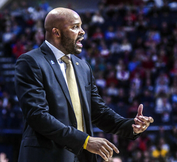 Missouri coach Cuonzo Martin reacts during an NCAA college basketball game against Mississippi in Oxford, Miss., Saturday, Feb. 16, 2019. (Bruce Newman/The Oxford Eagle via AP)