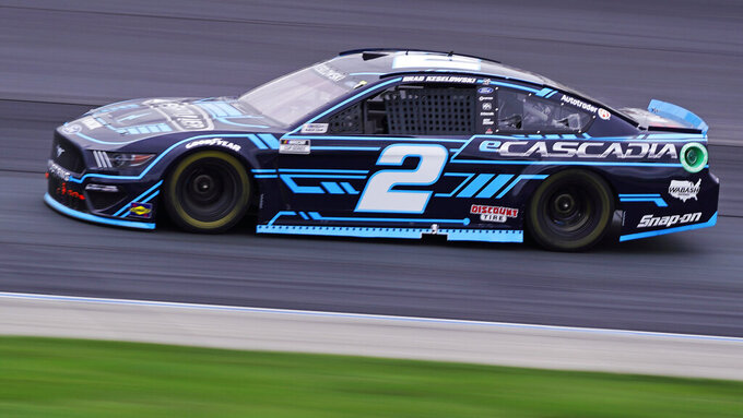 Brad Keselowski competes at a NASCAR Cup Series auto race, Sunday, July 18, 2021, in Loudon, N.H. (AP Photo/Charles Krupa)