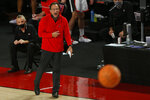 Georgia coach Tom Crean reacts during the team's NCAA college basketball game against Montana on Tuesday, Dec. 8, 2020, in Athens, Ga. (Joshua L. Jones/Athens Banner-Herald via AP)