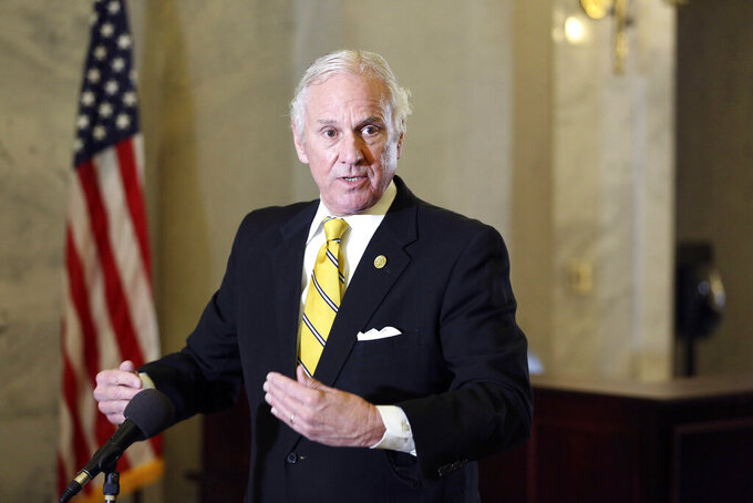 FILE - In this Jan. 27, 2021 file photo, South Carolina Gov. Henry McMaster talks about vaccine distribution and abortion during a news conference  in Columbia, S.C. McMaster has opened up COVID-19 vaccination to all of the state's residents ages 16 and up, saying Friday, March 26,  that they could begin scheduling appointments next week and receive the vaccine starting March 31. (AP Photo/Jeffrey Collins, file)