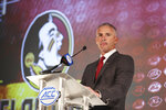 Florida State head coach Mike Norvell listens to a question during an NCAA college football news conference at the Atlantic Coast Conference media days in Charlotte, N.C., Thursday, July 22, 2021. (AP Photo/Nell Redmond)