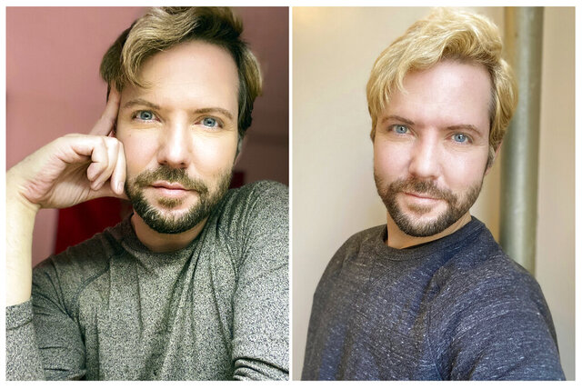 This combination of photos released by Kody Christiansen shows him before, at left, and after coloring his hair in New York. As the spread of the coronavirus sends more people into isolation around the world, trips to beloved salons and barber shops for morale-boosting services  are a thing of the past.  (Kody Christiansen via AP)