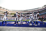 Denver Broncos wide receiver Tim Patrick (81) celebrates with teammates after scoring a touchdown during the first half of an NFL football game against the New York Giants Sunday, Sept. 12, 2021, in East Rutherford, N.J. (AP Photo/Adam Hunger)