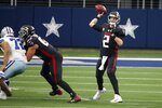 Dallas Cowboys defensive tackle Trysten Hill (72) rushes as Atlanta Falcons offensive guard Christian Lindstrom (63) defends allowing quarterback Matt Ryan (2) to throw a pass in the first half of an NFL football game in Arlington, Texas, Sunday, Sept. 20, 2020. (AP Photo/Ron Jenkins)
