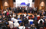 Sabah Chief Minister Shafie Apdal, center, speaks in Kota Kinabalu, Sabah, Malaysia Thursday, July 30, 2020. Shafie dissolved the state parliament to pave the way for polls after a ruling party politician claimed he had majority support of lawmakers to form a new government. (AP Photo)