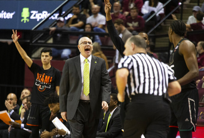 Miami head coach Jim Larranaga shouts instructions in the first half of an NCAA college basketball game against Florida State in Tallahassee, Fla., Wednesday, Jan. 9, 2019. (AP Photo/Mark Wallheiser)