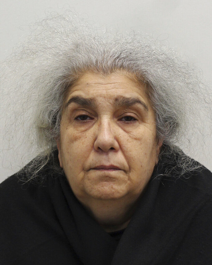 This undated photo issued by the Metropolitan Police shows Lulu Lakatos. A purported gem expert has been convicted of using sleight of hand to steal 4.2 million pounds ($5.7 million) worth of diamonds from a luxury jeweler in London's tony Mayfair district. Lulu Lakatos, 60, was sentenced Wednesday July 28, 2021, to 5 1/2 years in prison after the trial at Southwark Crown Court in London. (Metropolitan Police via AP)