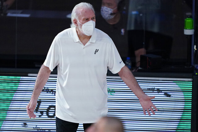 FILE - In this Aug. 2, 2020, file photo, San Antonio Spurs coach Gregg Popovich reacts during the first half of the team's NBA basketball game against the Memphis Grizzlies in Lake Buena Vista, Fla. For NBA coaches, masks are required this season. Jackets are not. Rules for coaching attire will be relaxed by the league this year, though not as much as was the case during play at the bubble at Walt Disney World this past summer. Suit jackets or sport coats will not be required — but coaches won't be able to wear the short-sleeved shirts that most donned for games in the bubble, either. (AP Photo/Ashley Landis, Pool, File)