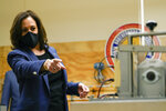 Democratic vice presidential candidate Sen. Kamala Harris, D-Calif., speaks during a tour of the IBEW 494 training facility Monday, Sept. 7, 2020, in Milwaukee. (AP Photo/Morry Gash)