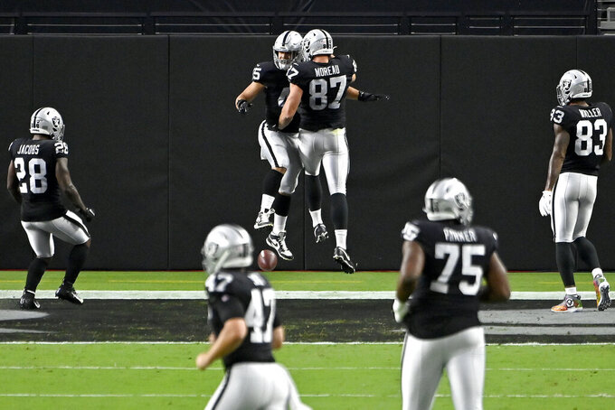 Las Vegas Raiders tight end Foster Moreau (87) celebrates after Las Vegas Raiders fullback Alec Ingold, left, scored a touchdown against the New Orleans Saints during the first half of an NFL football game, Monday, Sept. 21, 2020, in Las Vegas. (AP Photo/David Becker)