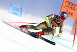 United States' Mikaela Shiffrin competes on her way to win the women's super G at the alpine ski World Championships, in Are, Sweden, Tuesday, Feb. 5, 2019. (AP Photo/Alessandro Trovati)