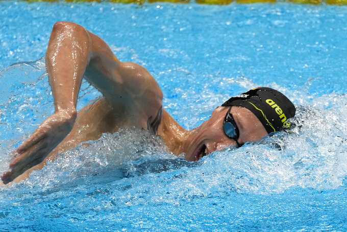 Florian Wellbrock, of Germany, swims in the men's 1500-meter freestyle final at the 2020 Summer Olympics, Sunday, Aug. 1, 2021, in Tokyo, Japan. (AP Photo/Jae C. Hong)